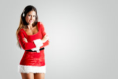 All center operator in a red Christmas costume royalty free stock photos