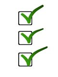 All checked. 3 green tick symbol in a list of check boxes on a white background. Representing success, choice and decision making Royalty Free Stock Photography