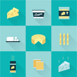 All cheese types icon set Royalty Free Stock Image