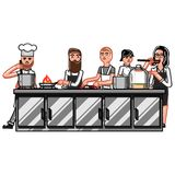 All chiefs crew working on kitchen. Vector illustration, EPS 10 Royalty Free Stock Image