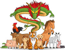All 12 Chinese Zodiac Animals Together. A vector set of all 12 chinese zodiac animals. Drawn in cartoon style, this vector is very good for design that needs Royalty Free Stock Photos