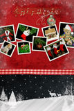 All About Christmas. Holiday snapshots on textured red with winter scene stock illustration