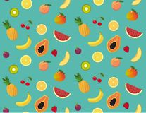 Fresh and colorful summer fruit pattern. All the colors of summer fruit in a fresh pattern ready to use as a tile royalty free illustration