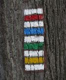 All colour of tourist signs used for marking tourist routes Stock Images