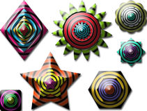 All colourful shape. Different shape with different pattern and colour Stock Illustration