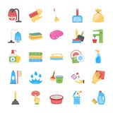 Cleaning and Maid Icons Set stock illustration