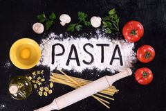 All cooked pasta, kitchen table. All cooked pasta, kitchen table, top view Stock Photography