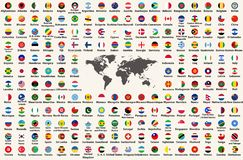 All countries flags of the world in circular form design, arranged in alphabetical order, with original colors and high detailed vector illustration