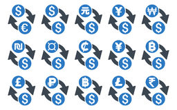 All Currency Exchange Flat Vector Icons. All Currency Exchange vector icons. Icon style is bicolor smooth blue flat symbols with rounded angles on a white Stock Image