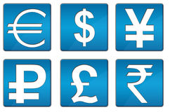 All Currency Icons Blue Square Stock Photography