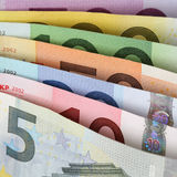 All current Euro notes one after another Stock Images