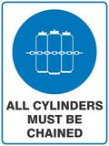 All Cylinders Must Be Chained Safety Sign. Australian Version. Artwork specifically designed to comply with the Australian Safety Sign Standard 1319-1994 Royalty Free Stock Images