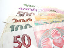 All czech banknotes. Arrangement with all czech banknotes Stock Photos