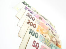 All czech banknotes stock image