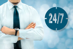 24/7 all day all night, full time, nonstop service concept. Busi Stock Photos