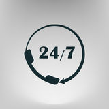 All-day customer support call-center. Flat icon Stock Photo