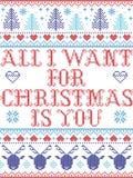 All den sömlösa julmodellen som jag önskar för jul, är dig, inspirerat av norsk jul, den festliga vintern i arg häftklammer vektor illustrationer