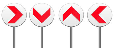 All direction arrows road sign isolated. North,south,east,west,all direction arrows road sign isolated in white Royalty Free Stock Images