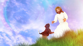 All Dogs Go Heaven Illustration. Jesus welcoming a pet dog Royalty Free Stock Photography