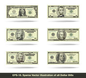 All Dollar Bills Flat. Sparse vector illustration of all dollar bills. EPS-10, all icons, signs and texts except the value numbers are sparse shapes Stock Photos