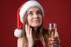 All dreams will come true on X mas! Close up photo portrait of pretty lovely think thoughtful pensive planning cute lady looking u royalty free stock photography