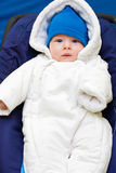 All dressed up. Cute baby dressed in warm fluffy winter clothes Stock Images