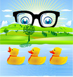 All duckling. 3 rubber duck Stock Images