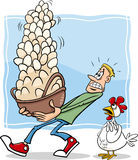 All eggs in one basket cartoon. Cartoon Humor Concept Illustration of Dont Put All your Eggs in One Basket Saying or Proverb Royalty Free Stock Image
