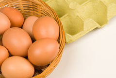 All eggs in the same basket Stock Photo