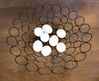 All Eight Eggs in One Metal Basket Royalty Free Stock Photography