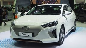 The all-electric Hyundai Ioniq at the 34th Motor Expo 2017. Hyundai Motor Thailand displays an all-electric Ioniq car at the 34th Motor Expo 2017 open to public stock photos