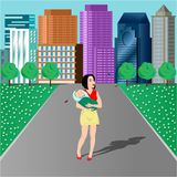 Vector illustration. A young mother walks in a city park with a baby in her arms and admires butterflies around her stock illustration