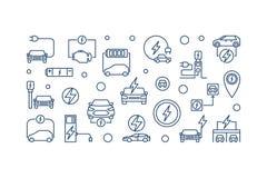 All-elkraft bilhorisontalbaner Vektoröversiktsillustration royaltyfri illustrationer