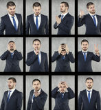 All emotions, face of business man Stock Photography