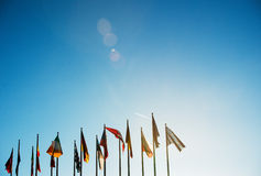 All EU Flags on clear sky Royalty Free Stock Photos