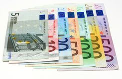 All the Euro banknotes. Isolated on a white background Royalty Free Stock Photography
