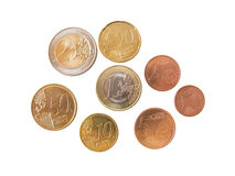 All euro coins. Available, isolated in white stock images
