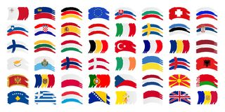 All Europe Flag and Every European Flags Vector Set. Isolated vector illustration