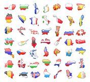 Contours of European countries with flags. Vector illustration. Royalty Free Stock Photos