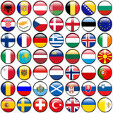 All European Flags - circle glossy buttons. Every button is isolated on white background.  Royalty Free Stock Photos