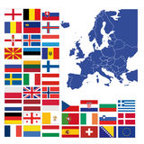 All european flags and map of europe Stock Photos