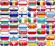 All European Flags - rectangle glossy buttons. Every button is isolated on white background Stock Photos