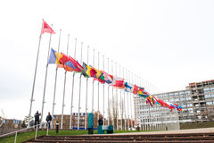All European Union Flag flies at half-mast in front of the Counc. STRASBOURG, FRANCE - 14 Nov 2015: All European Union Flag flies at half-mast in front of the Royalty Free Stock Photography