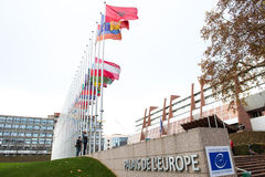 All European Union Flag flies at half-mast in front of the Counc. STRASBOURG, FRANCE - 14 Nov 2015: All European Union Flag flies at half-mast in front of the Stock Photography