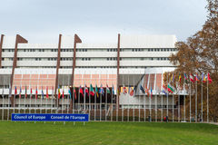 All European Union Flag flies at half-mast in front of the Counc. STRASBOURG, FRANCE - 14 Nov 2015: All European Union Flag flies at half-mast in front of the Stock Image