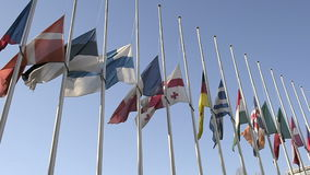 All European Union Flags half-mast Council of Europe stock video