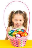 Young Girl and the Basket with Chocolate Eggs Royalty Free Stock Images