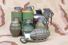 All explosives, weapon army,standard time fuze, hand grenade on Stock Photography