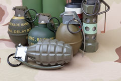 All explosives, weapon army,standard time fuze, hand grenade on Stock Photos