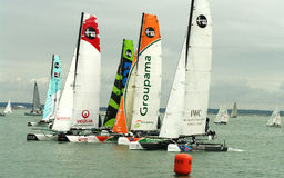 All Extreme 40 catamarans at cowes week Stock Image
